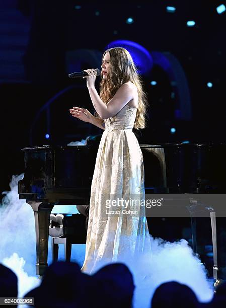 Recording artist Joy Huerta of Jesse y Joy performs onstage during The 17th Annual Latin Grammy Awards at TMobile Arena on November 17 2016 in Las...