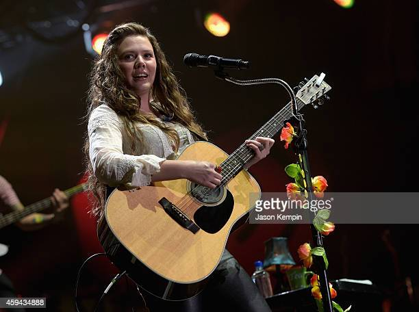 Recording artist Joy Huerta of music group Jesse y Joy performs onstage during the iHeartRadio Fiesta Latina festival presented by Sprint at The...