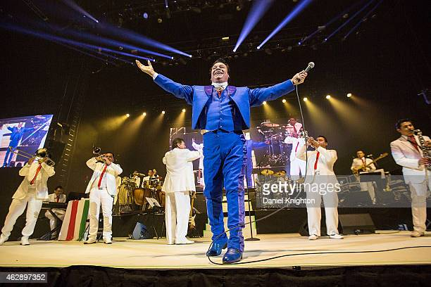 Recording artist Juan Gabriel performs on stage during Volver 2015 Tour at Viejas Arena on February 6 2015 in San Diego California