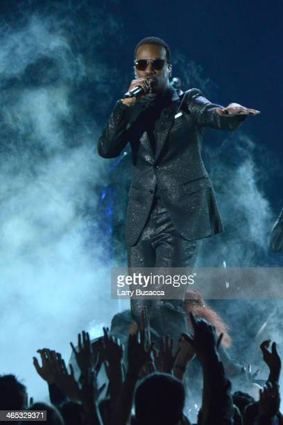 Recording artist Juicy J performs onstage during the 56th GRAMMY Awards at Staples Center on January 26 2014 in Los Angeles California