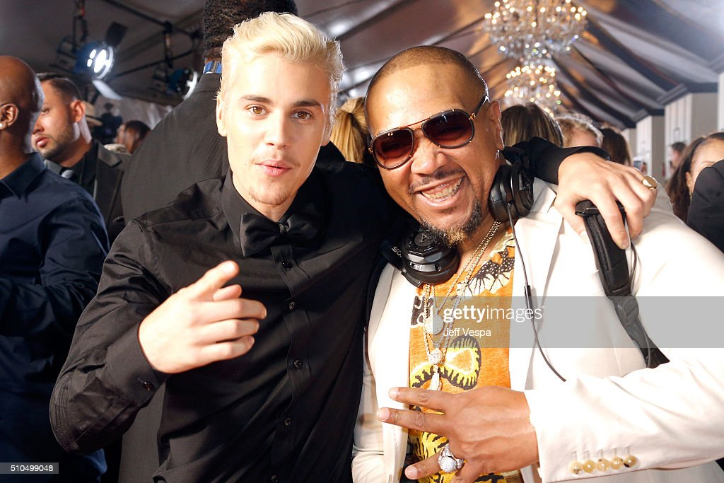 Recording artist Justin Bieber (L) and record producer Timbaland attend The 58th GRAMMY Awards at Staples Center on February 15, 2016 in Los Angeles, California.