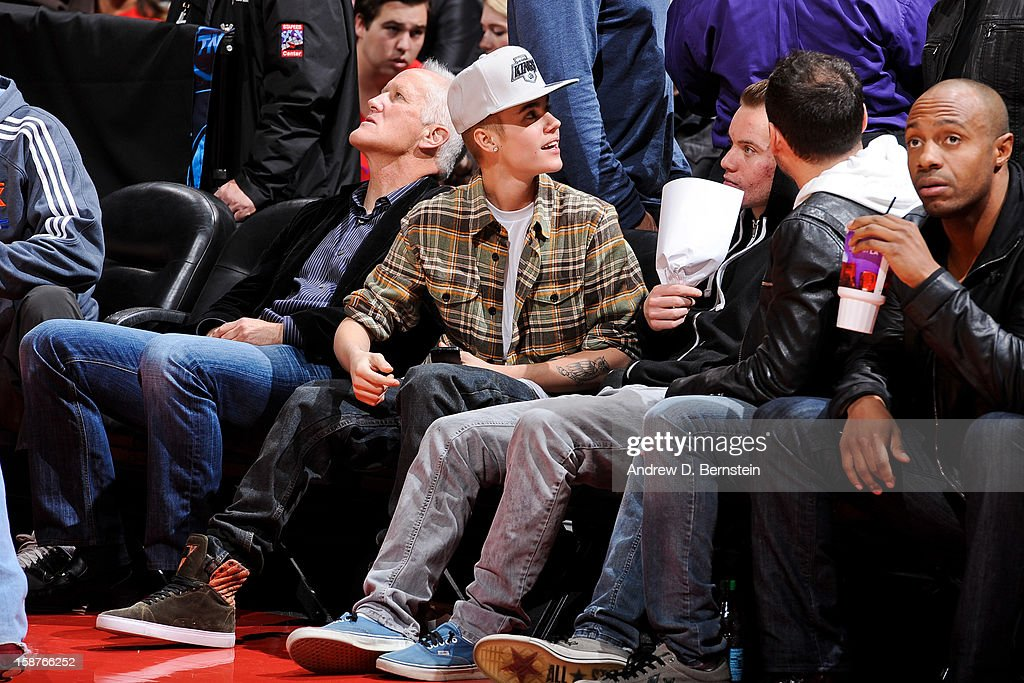Recording artist Justin Bieber attends a game between the Boston Celtics and Los Angeles Clippers on December 27, 2012 at the Staples Center in Los Angeles, California.