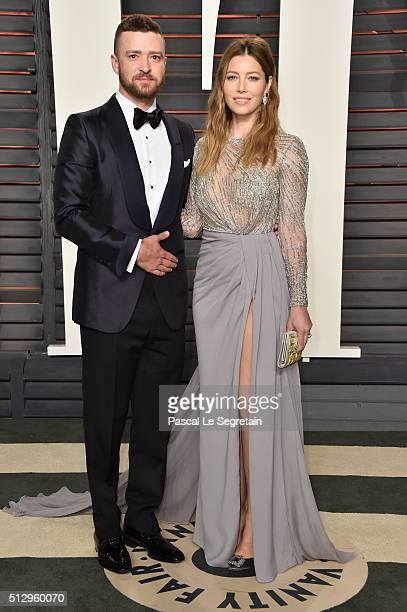 Recording artist Justin Timberlake and actress Jessica Biel attend the 2016 Vanity Fair Oscar Party Hosted By Graydon Carter at the Wallis Annenberg...