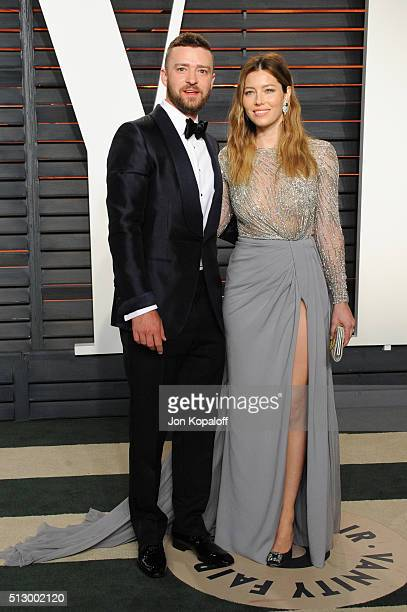 Recording artist Justin Timberlake and actress Jessica Biel attend the 2016 Vanity Fair Oscar Party hosted By Graydon Carter at Wallis Annenberg...