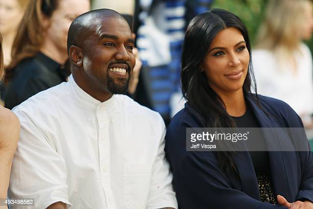 Recording artist Kanye West and TV personality Kim Kardashian attend CFDA/Vogue Fashion Fund Show and Tea at Chateau Marmont on October 20 2015 in...