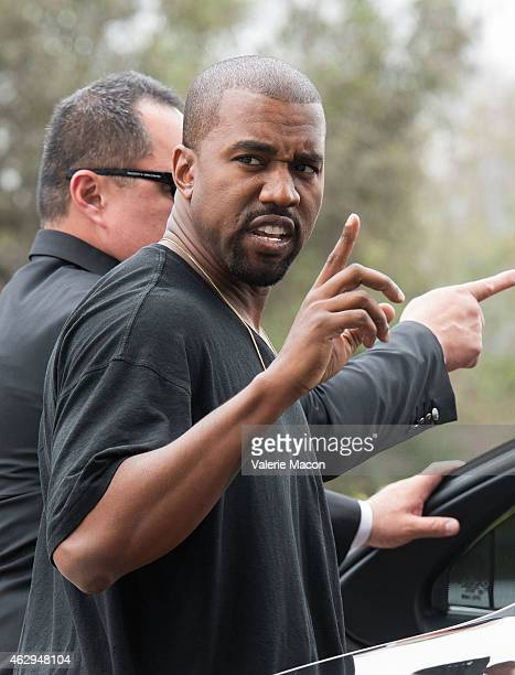 Recording artist Kanye West arrives at the Roc Nation PreGRAMMY Brunch on February 7 2015 in Beverly Hills California
