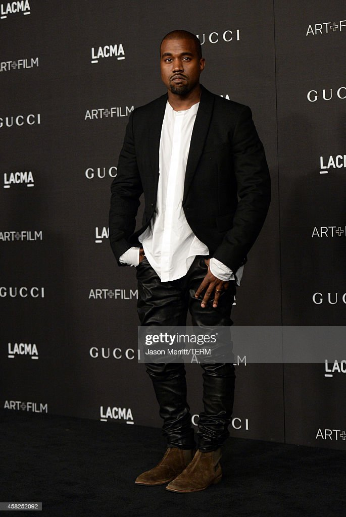 Recording artist Kanye West attends the 2014 LACMA Art Film Gala honoring Barbara Kruger and Quentin Tarantino presented by Gucci at LACMA on...