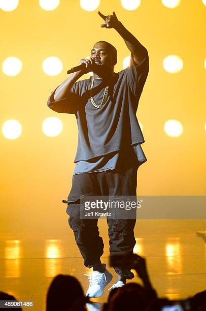 Recording artist Kanye West performs onstage at the iHeartRadio Music Festival Night 1 on September 18 2015 in Las Vegas Nevada