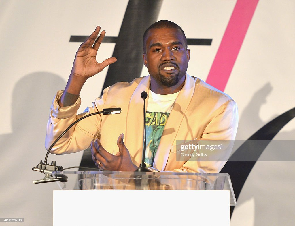 Recording artist <a gi-track='captionPersonalityLinkClicked' href=/galleries/search?phrase=Kanye+West+-+Musician&family=editorial&specificpeople=201803 ng-click='$event.stopPropagation()'>Kanye West</a> speaks onstage at The DAILY FRONT ROW 'Fashion Los Angeles Awards' Show at Sunset Tower on January 22, 2015 in West Hollywood, California.