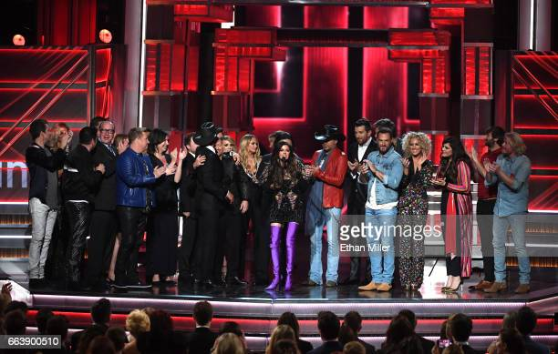 Recording artist Karen Fairchild of Little Big Town accepts the Video of the Year award for 'Forever Country' on behalf of fellow winners onstage...
