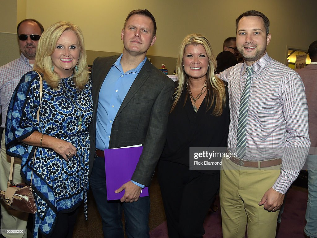 Recording Artist Karen Peck, Producer Wayne Haun, Recording Artists, Natalie Grant and Brandon Heath during the 45th Annual GMA Dove Awards Nominations Press Conference at Allen Arena on Lipscomb University campus, August 13, 2014 in Nashville, Tennessee.