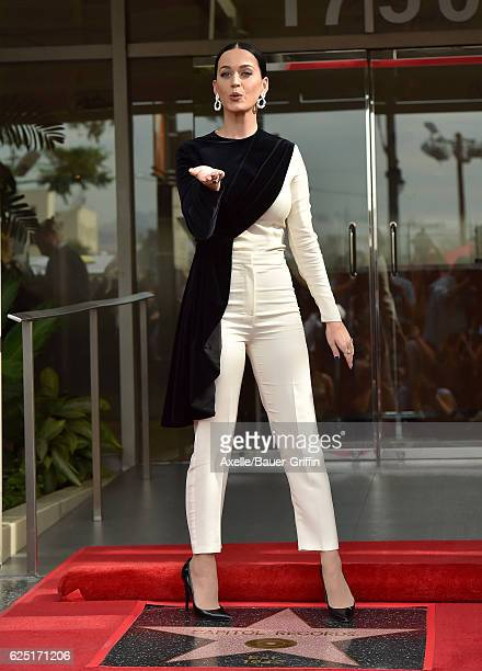 Recording artist Katy Perry attends the ceremony honoring Capitol Records by the Hollywood Chamber of Commerce with a 'Star of Recognition' at...