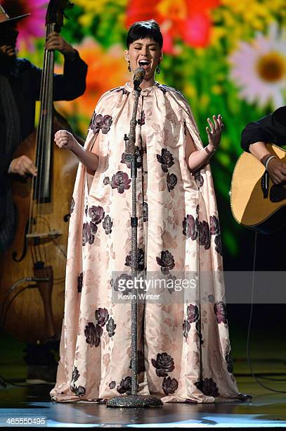 Recording artist Katy Perry performs onstage during 'The Night That Changed America A GRAMMY Salute To The Beatles' at the Los Angeles Convention...