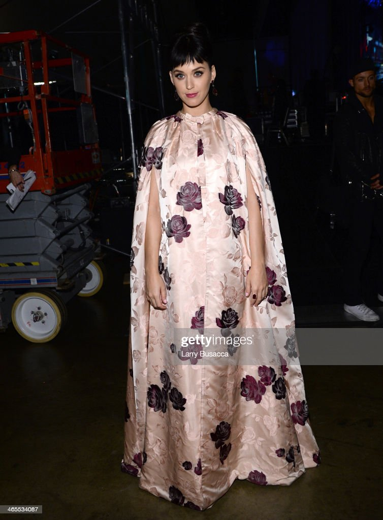 Recording artist <a gi-track='captionPersonalityLinkClicked' href=/galleries/search?phrase=Katy+Perry&family=editorial&specificpeople=599558 ng-click='$event.stopPropagation()'>Katy Perry</a> poses backstage at 'The Night That Changed America: A GRAMMY Salute To The Beatles' at the Los Angeles Convention Center on January 27, 2014 in Los Angeles, California.