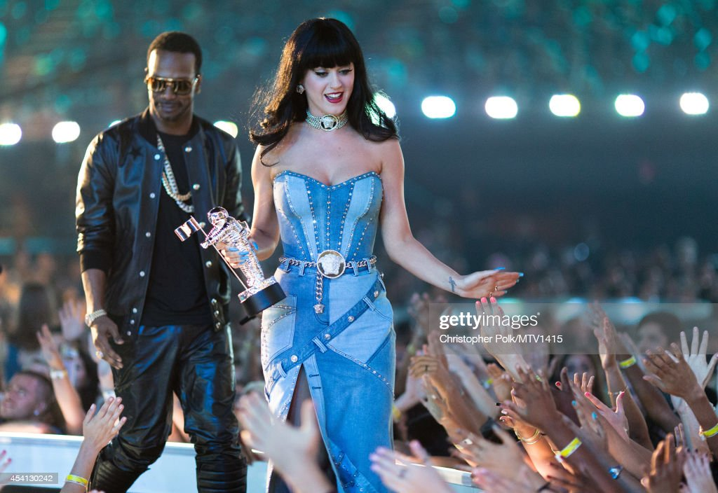 Recording artist <a gi-track='captionPersonalityLinkClicked' href=/galleries/search?phrase=Katy+Perry&family=editorial&specificpeople=599558 ng-click='$event.stopPropagation()'>Katy Perry</a> speaks onstage during the 2014 MTV Video Music Awards at The Forum on August 24, 2014 in Inglewood, California.