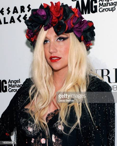 Recording artist Ke$ha arrives at the Pure Nightclub at Caesars Palace to host the club's eighth anniversary party on March 13 2013 in Las Vegas...