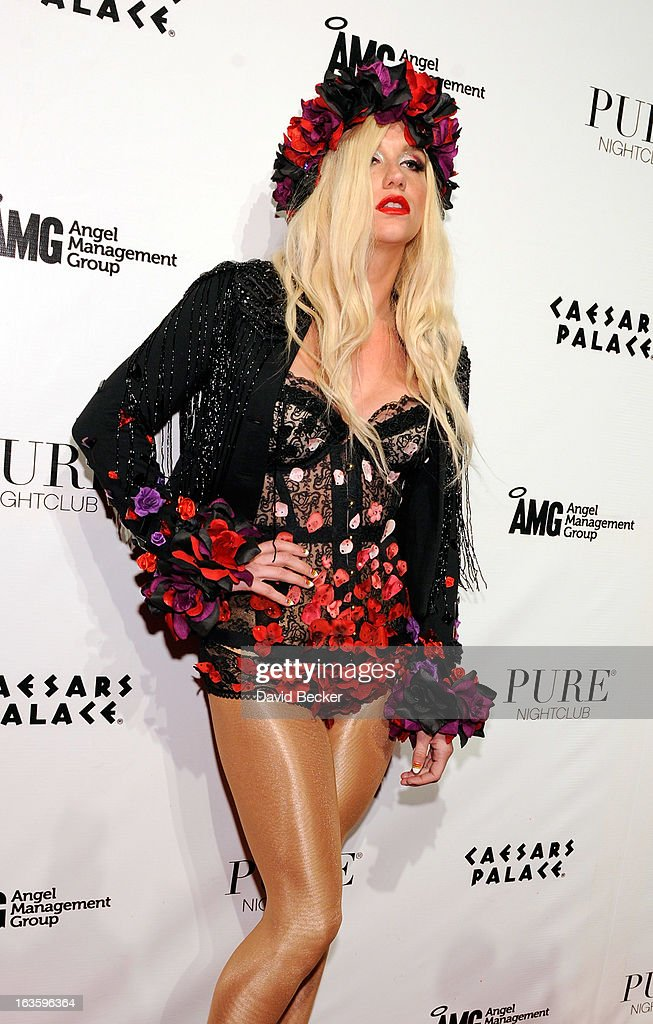 Recording artist <a gi-track='captionPersonalityLinkClicked' href=/galleries/search?phrase=Ke%24ha&family=editorial&specificpeople=6718222 ng-click='$event.stopPropagation()'>Ke$ha</a> arrives at the Pure Nightclub at Caesars Palace to host the club's eighth anniversary party on March 13, 2013 in Las Vegas, Nevada.
