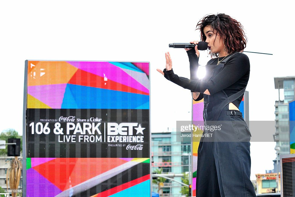 Recording artist Kehlani performs onstage at 106 Park presented by Coke during the 2015 BET Experience at Nokia Plaza on June 27 2015 in Los Angeles...