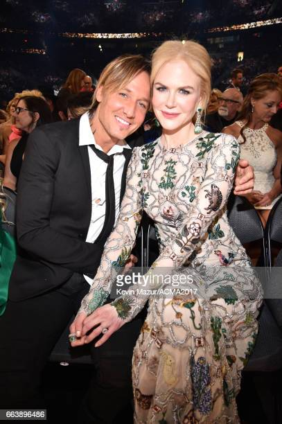 Recording artist Keith Urban and actor Nicole Kidman attend the 52nd Academy Of Country Music Awards at TMobile Arena on April 2 2017 in Las Vegas...