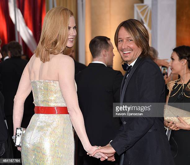 Recording artist Keith Urban and actress Nicole Kidman attend the 87th Annual Academy Awards at Hollywood Highland Center on February 22 2015 in...