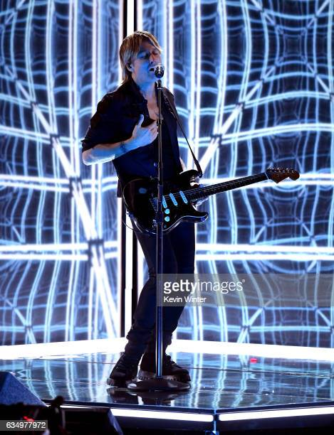 Recording artist Keith Urban performs onstage during The 59th GRAMMY Awards at STAPLES Center on February 12 2017 in Los Angeles California