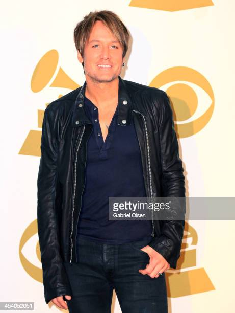 Recording artist Keith Urban poses in the press room during The GRAMMY Nominations Concert Live Countdown To Music's Biggest Night at Nokia Theatre...