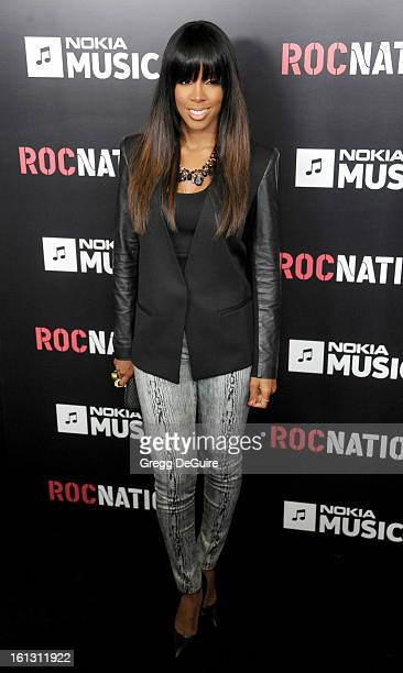 Recording artist Kelly Rowland arrives at Roc Nation PreGRAMMY brunch at Soho House on February 9 2013 in West Hollywood California