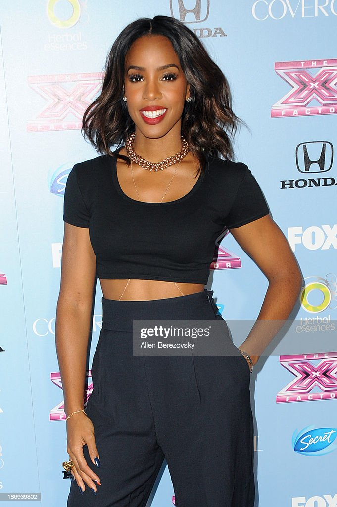 Recording artist <a gi-track='captionPersonalityLinkClicked' href=/galleries/search?phrase=Kelly+Rowland&family=editorial&specificpeople=201760 ng-click='$event.stopPropagation()'>Kelly Rowland</a> arrives at 'The X Factor' Finalists Party at SLS Hotel on November 4, 2013 in Los Angeles, California.
