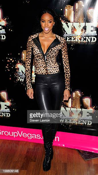Recording artist Kelly Rowland arrives for New Year's eve weekend at the Rain Nightclub inside the Palms Casino Resort on December 29 2012 in Las...