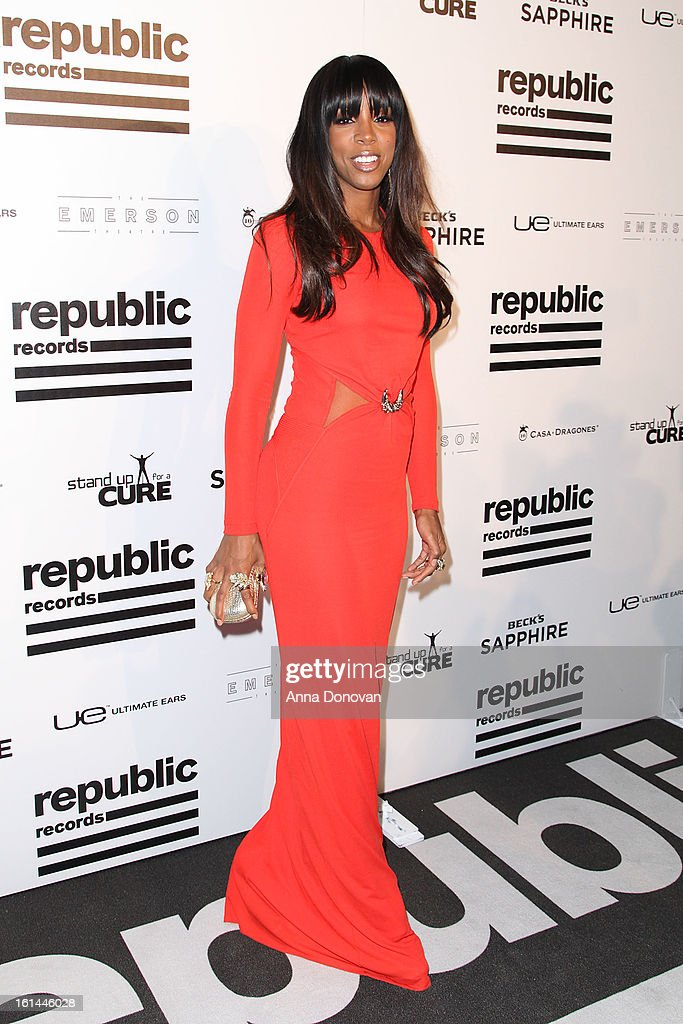 Recording artist <a gi-track='captionPersonalityLinkClicked' href=/galleries/search?phrase=Kelly+Rowland&family=editorial&specificpeople=201760 ng-click='$event.stopPropagation()'>Kelly Rowland</a> arrives to the Republic Records post GRAMMY party at the Emerson Theatre on February 10, 2013 in Hollywood, California.