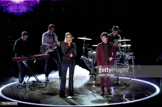 Recording artist Kelsea Ballerini and Lukas Graham music group members Morten Ristorp Magnus Larsson Lukas Forchhammer and Mark Falgren perform...