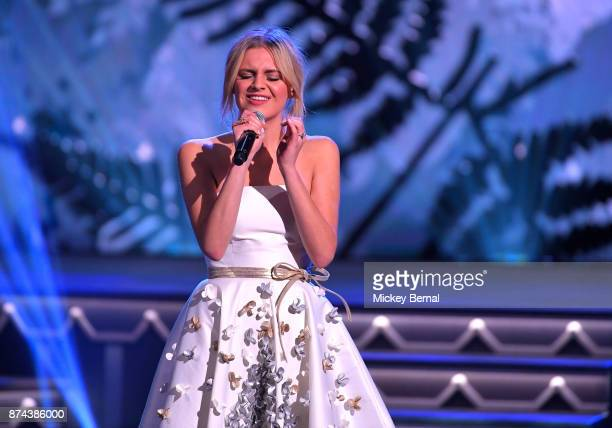 Recording artist Kelsea Ballerini performs during CMA 2017 Country Christmas at The Grand Ole Opry on November 14 2017 in Nashville Tennessee