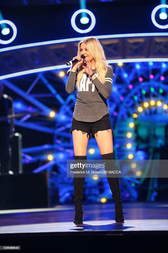 Recording artist <a gi-track='captionPersonalityLinkClicked' href=/galleries/search?phrase=Kelsea+Ballerini&family=editorial&specificpeople=12614491 ng-click='$event.stopPropagation()'>Kelsea Ballerini</a> performs onstage during rehearsals for the 2016 American Country Countdown Awards at The Forum on April 29, 2016 in Inglewood, California.