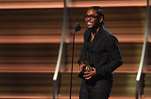 Recording artist Kendrick Lamar accepts the award for Best Rap Album for 'To Pimp a Butterfly' onstage during The 58th GRAMMY Awards at Staples...