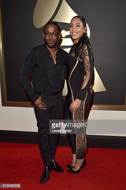 Recording artist Kendrick Lamar and Whitney Alford attend The 58th GRAMMY Awards at Staples Center on February 15 2016 in Los Angeles California