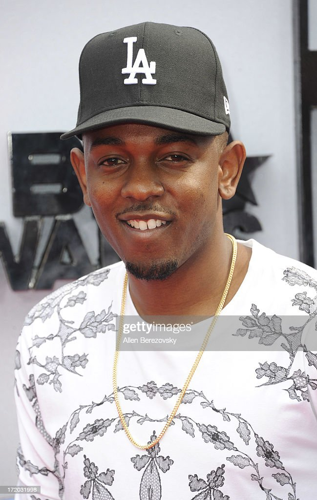 Recording artist <a gi-track='captionPersonalityLinkClicked' href=/galleries/search?phrase=Kendrick+Lamar&family=editorial&specificpeople=8012417 ng-click='$event.stopPropagation()'>Kendrick Lamar</a> attends 2013 BET Awards - Arrivals at Nokia Plaza L.A. LIVE on June 30, 2013 in Los Angeles, California.