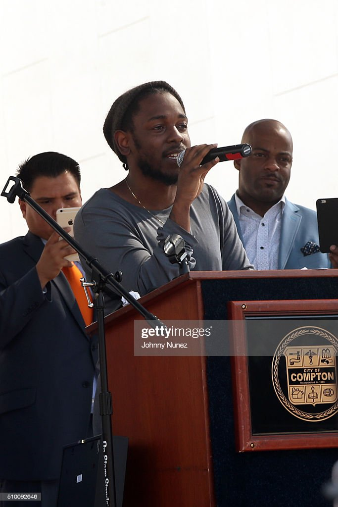 Recording artist <a gi-track='captionPersonalityLinkClicked' href=/galleries/search?phrase=Kendrick+Lamar&family=editorial&specificpeople=8012417 ng-click='$event.stopPropagation()'>Kendrick Lamar</a> is honored at the 2016 Key To The City Ceremony on February 13, 2016, in Compton, California.