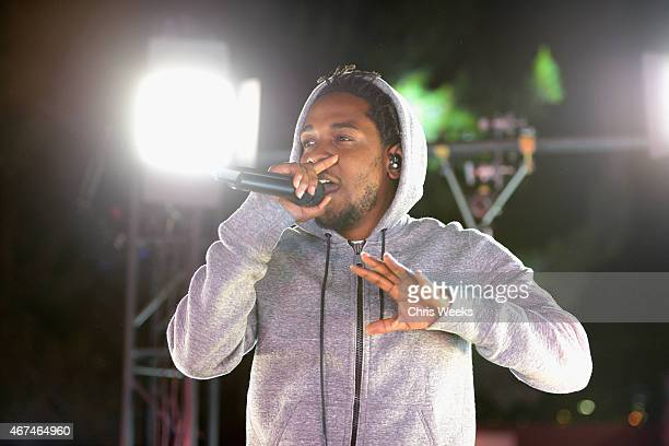 Recording artist Kendrick Lamar performs at #GETPUMPED live event Reebok And Kendrick Lamar Take Over The Streets Of Hollywood Fusing Fitness And...