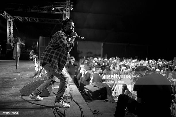 Recording artist Kendrick Lamar performs onstage during day 2 of the 2016 Coachella Valley Music Arts Festival Weekend 2 at the Empire Polo Club on...