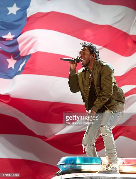 Recording artist Kendrick Lamar performs onstage during the 2015 BET Awards at the Microsoft Theater on June 28 2015 in Los Angeles California
