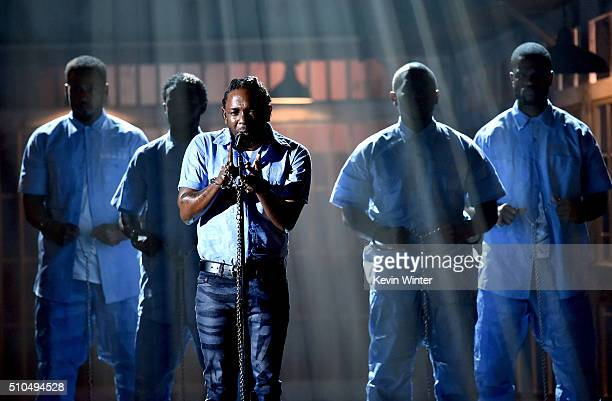 Recording artist Kendrick Lamar performs onstage during The 58th GRAMMY Awards at Staples Center on February 15 2016 in Los Angeles California