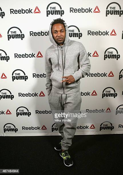 Recording artist Kendrick Lamar poses at #GETPUMPED live event Reebok And Kendrick Lamar Take Over The Streets Of Hollywood Fusing Fitness And Music...