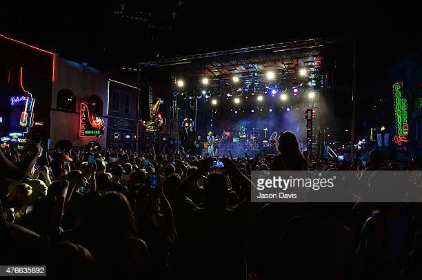 Recording Artist Kenny Chesney performs on the outside stage during the 2015 CMT Music awards at the Bridgestone Arena on June 10 2015 in Nashville...