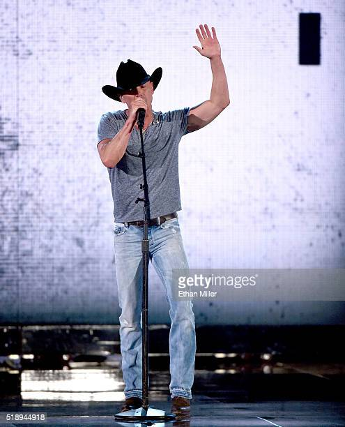 Recording artist Kenny Chesney performs onstage during the 51st Academy of Country Music Awards at MGM Grand Garden Arena on April 3 2016 in Las...