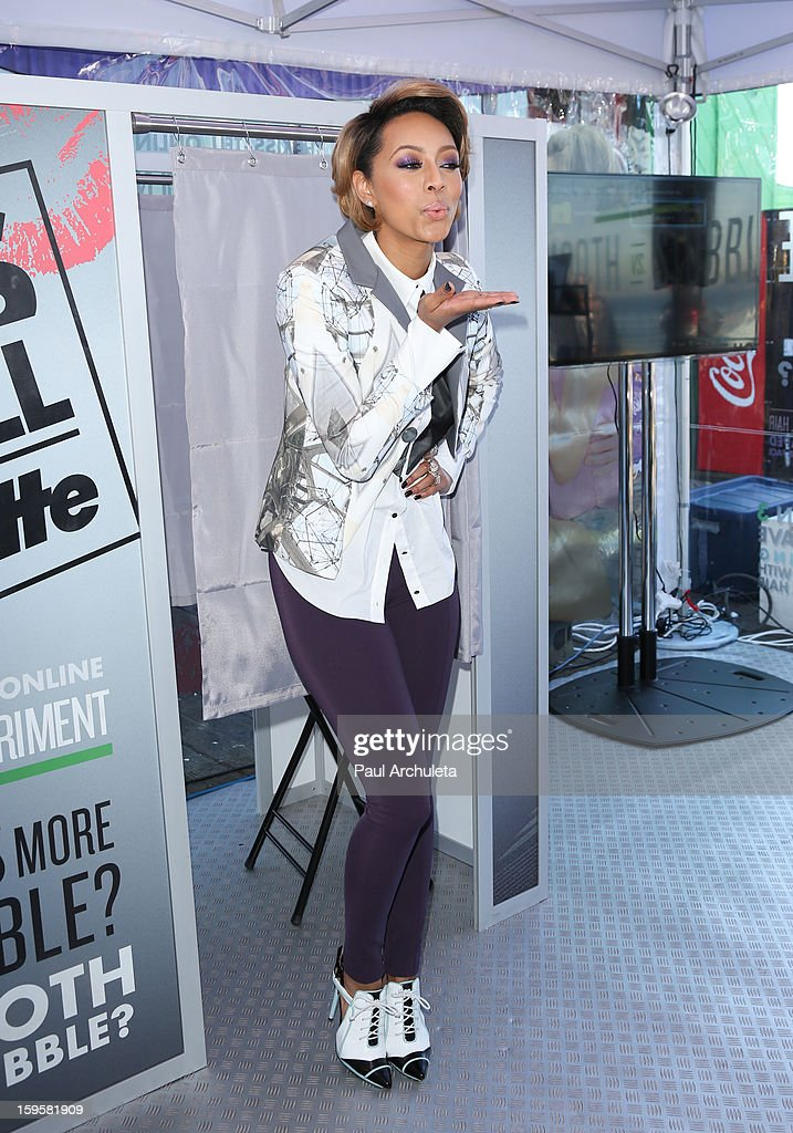 Recording Artist Keri Hilson hosts a 'Kiss & Tell' experiment at the Santa Monica Pier on January 16, 2013 in Santa Monica, California.
