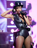 Recording artist Keri Hilson performs during Dick Clark's New Year's Rockin' Eve With Ryan Seacrest 2010 at Aria Resort Casino at the City Center on...