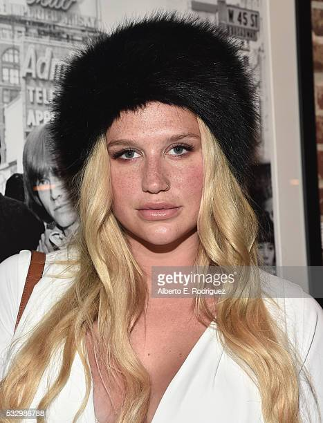Recording artist Kesha attends Markus Klinko Presents his 'Bowie Unseen' Exhibition at Mr Musichead Gallery on May 19 2016 in Los Angeles California