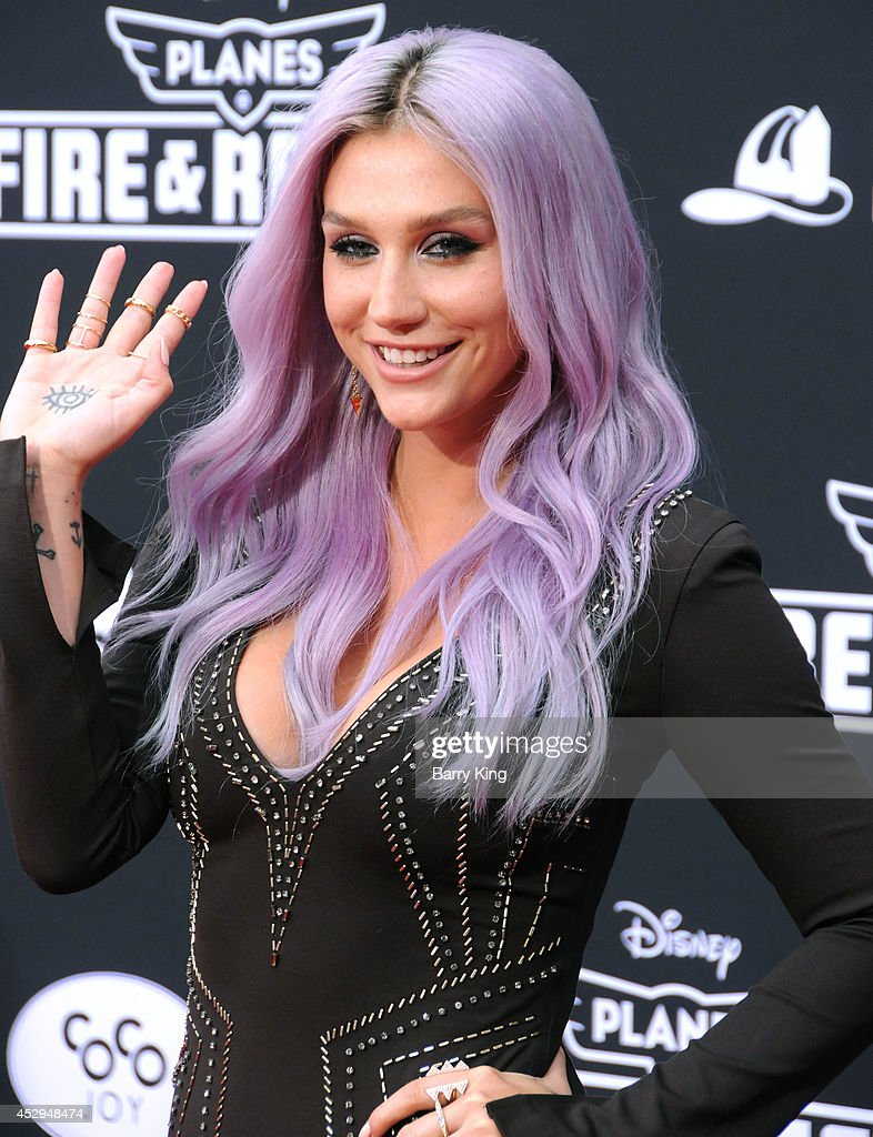 Recording artist Kesha attends the premiere of 'Planes: Fire & Rescue' on July 15, 2014 at the El Capitan Theatre in Hollywood, California.