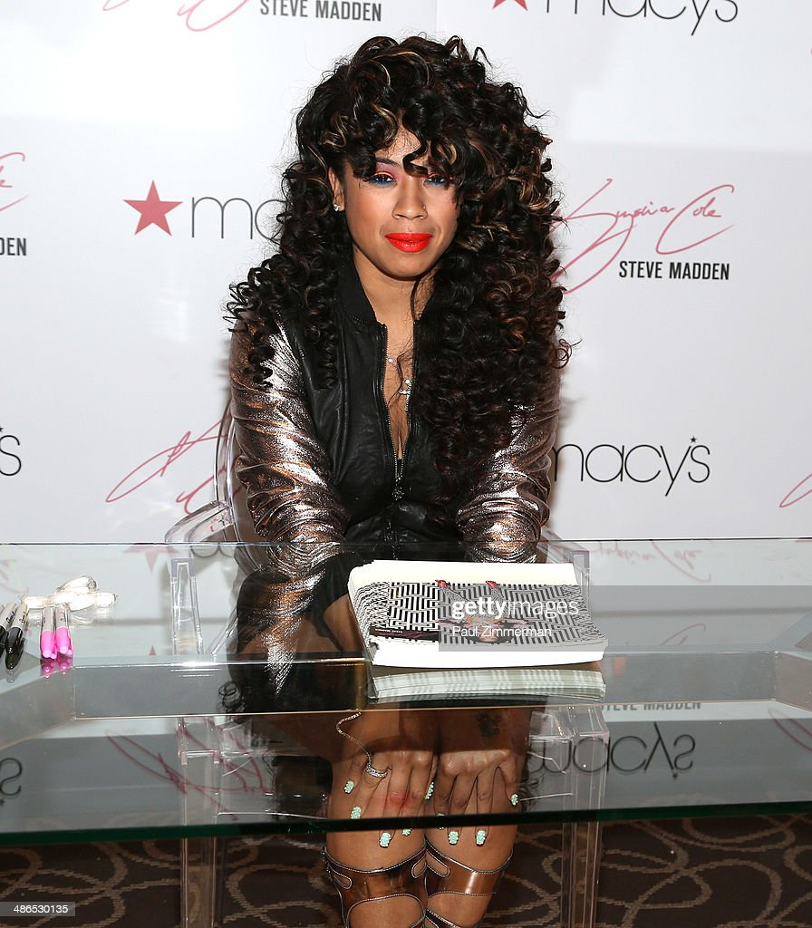 Recording artist <a gi-track='captionPersonalityLinkClicked' href=/galleries/search?phrase=Keyshia+Cole&family=editorial&specificpeople=563536 ng-click='$event.stopPropagation()'>Keyshia Cole</a> (shoe detail) at Macy's Herald Square on April 24, 2014 in New York City.