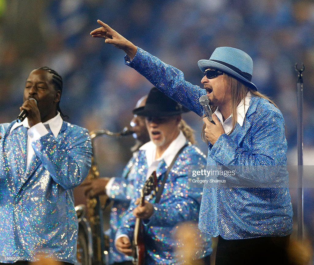 Recording artist Kid Rock performs at halftime during a game between the Detroit Lions and Houston Texans at Ford Field on November 22, 2012 in Detroit, Michigan.